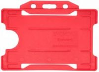 KR_IDPASS_07_SS_RED Red Recyclable Single Sided Landscape Open Faced ID Card Holder