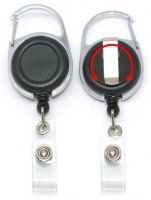 KR_BDG_CAB_BLK_S Retractable Badge Reel with both Carabiner and Belt clip inc 360 degree swivel - Solid Black