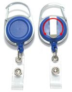 KR_BDG_CAB_BLU_S Retractable Badge Reel with both Carabiner and Belt clip inc 360 degree swivel - Solid Blue