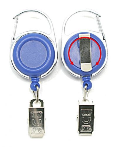 KR_CAB_CC_BLU_S Retractable Key Reel with both Carabiner and Belt clip inc 360 degree swivel and Metal Crocodile Clip - Solid Blue