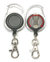 KR_CAB_SH_BLK_S Retractable Key Reel with both Carabiner and Belt clip inc 360 degree swivel and Metal Snap Hook - Solid Black