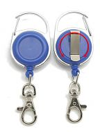 KR_CAB_SH_BLU_S Retractable Key Reel with both Carabiner and Belt clip inc 360 degree swivel and Metal Snap Hook - Solid Blue