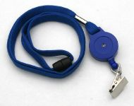 KR_LYD01_BLU_CC Retractable lanyard with Quick Release including Metal Crocodile Clip