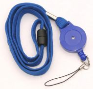 KR_LYD01_BLU_FL Blue Retractable Badge Reel/lanyard combination with quick release and Nylon Fixed Loop