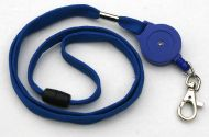 KR_LYD01_BLU_SH Blue Retractable Badge Reel/lanyard combination with quick release and Metal Snap Hook.