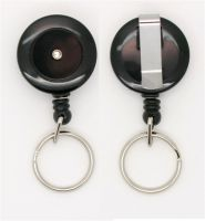 KR_SKEY_BLK_S Small retractable keyring with belt clip - Solid Black
