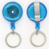 KR_SKEY_BLU_T Small retractable keyring with belt clip - Translucent Blue