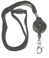 KR_LYD02_BLK_SH Black Retractable lanyard with Quick Release including Metal Snap Hook