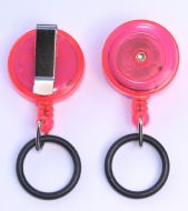 KR_SKEY_SAN_PNK_T Translucent Pink Small keyreel with belt clip and a Rubber O-Ring to allow attachment to Hand Sanitizer Bottles.
