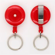 KR_SKEY_RED_S Small retractable keyring with belt clip - Solid Red